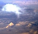 Photograph of Pryamids taken by Joe Thibedeau taken on descent into Cairo Airport during February 1974.